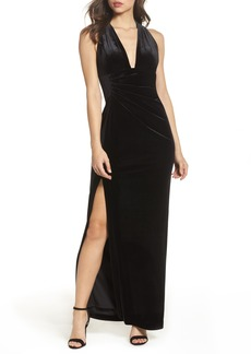 Vince Camuto Plunging Side Drape Velvet Gown
