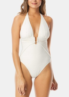 Vince Camuto Plunging Textured Halter One-Piece Swimsuit Women's Swimsuit