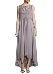 VINCE CAMUTO PLUS Beaded Illusion Hi-Low Chiffon Gown