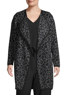 Vince Camuto Plus Cheetah-Print Open-Front Cotton Cardigan