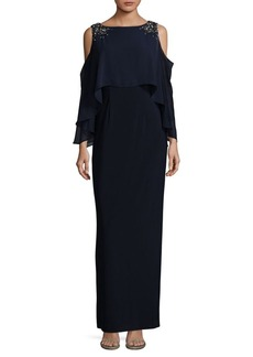 Vince Camuto Cold Shoulder Embellished Floor-Length Gown