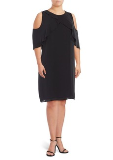 Vince Camuto Plus Crossover Ruffle Shift Cold Shoulder Dress