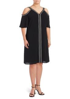 Vince Camuto Plus Embroidered Cold-Shoulder Dress
