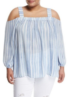 Vince Camuto Plus Graceful Phrases Striped Cold-Shoulder Blouse