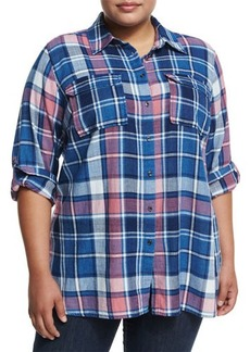 Vince Camuto Plus Long-Sleeve Plaid Shirt