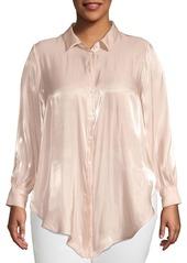Vince Camuto Plus Oasis Bloom Tie-Front Button-Down Shirt