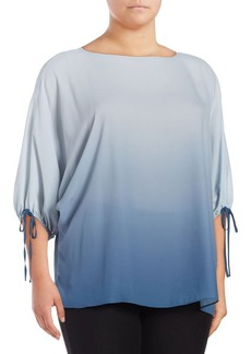 Vince Camuto Plus Ombre Three-Quarter Sleeve Blouse