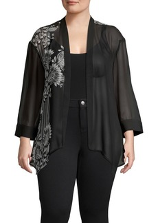 Vince Camuto Plus Ornate Melody Chiffon Cardigan