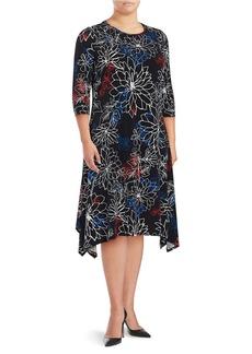VINCE CAMUTO PLUS Plus Aymmetricl Floral Dress