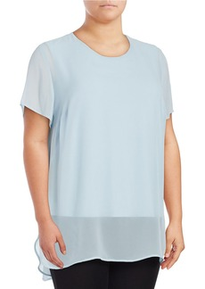 VINCE CAMUTO PLUS Plus Chiffon-Overlay Blouse