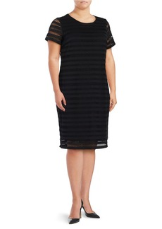 VINCE CAMUTO PLUS Plus Crocheted Overlay Shift Dress