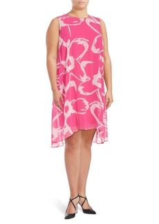 Vince Camuto Plus Printed Chiffon Overlay Dress