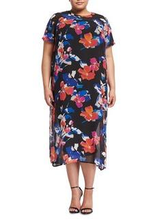 Vince Camuto Plus Short-Sleeve Floral-Print Shift Dress