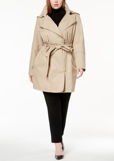 Vince Camuto Plus Size Asymmetrical Belted Trench Coat