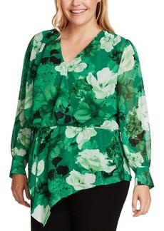 Vince Camuto Plus Size Asymmetrical Floral Print Top
