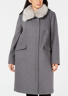 Vince Camuto Plus Size Faux-Fur-Collar Coat