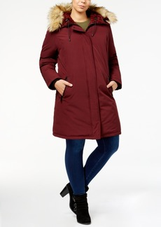 Vince Camuto Plus Size Faux-Fur-Lined Hooded Puffer Coat