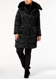 Vince Camuto Plus Size Faux-Fur-Trim Zip-Pocket Puffer Coat