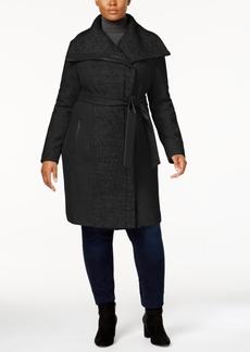 Vince Camuto Plus Size Faux-Leather-Trim Walker Coat