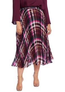 Vince Camuto Plus Size Plaid Pleated Midi Skirt