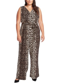 Vince Camuto Plus Size Printed Belted Wide-Leg Jumpsuit