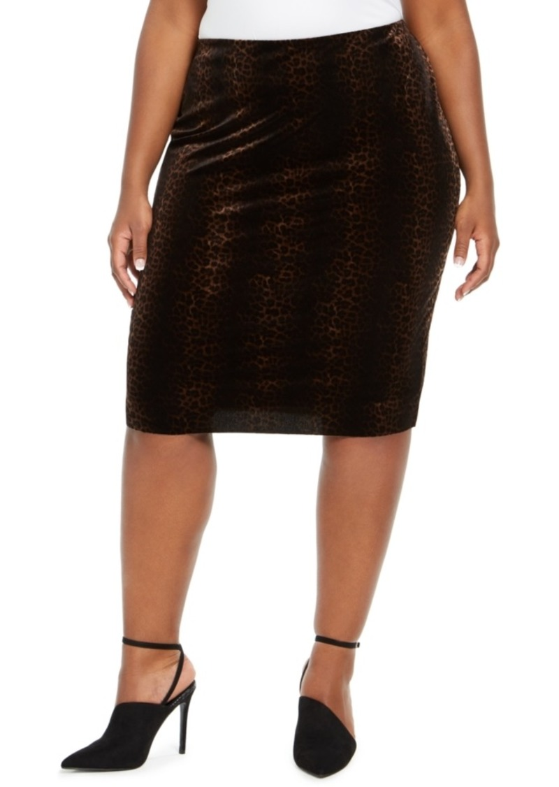 Vince Camuto Plus Size Velvet Animal-Print Pencil Skirt