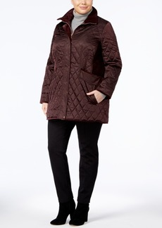 Vince Camuto Plus Size Velvet-Trim Quilted Coat