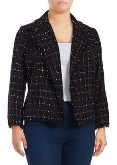 Vince Camuto Plus Spring Windowpane Tweed Jacket