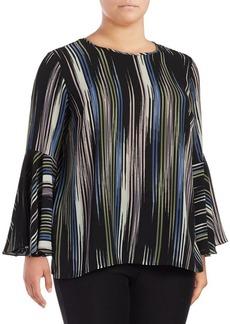 Vince Camuto Plus Stripe-Print Flounce-Sleeve Blouse