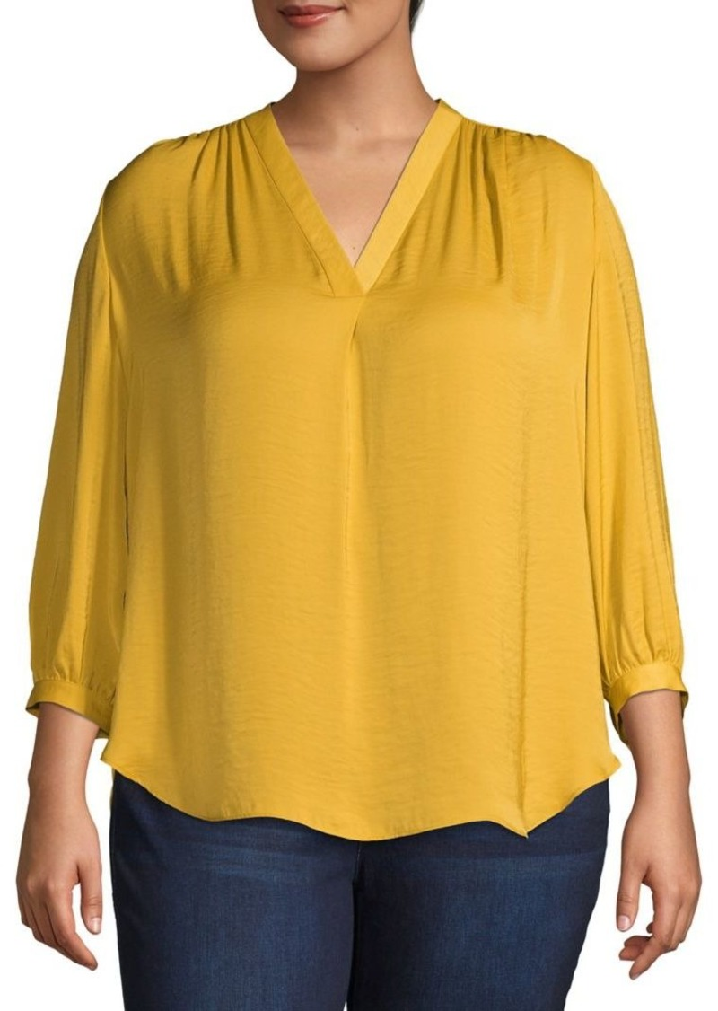 Vince Camuto Plus Three-Quarter Sleeve V-Neck Blouse