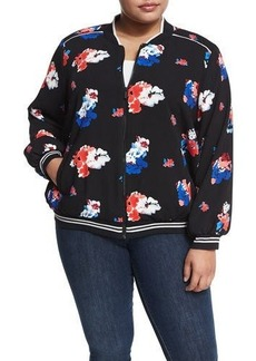 Vince Camuto Plus Traveling Bloom Zip-Front Bomber Jacket