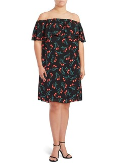 Vince Camuto Plus Tropic Spritz Ruffled Off-The-Shoulder Dress