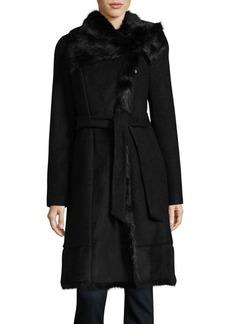 Vince Camuto Faux Fur Shawl Collar Wrap Coat