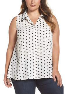 Vince Camuto Polka Dot Blouse (Plus Size)
