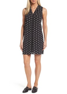Vince Camuto Polka Dot Inverted Pleat Shift Dress