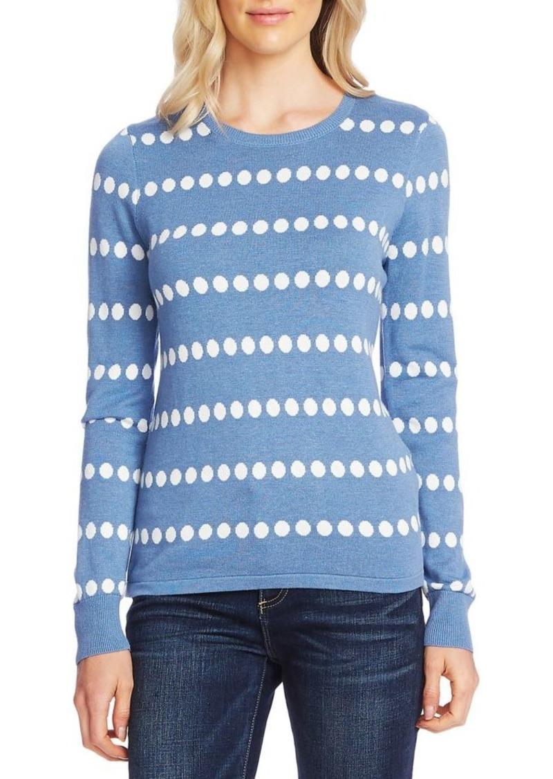 Vince Camuto Polka Dot Jacquard Cotton-Blend Sweater