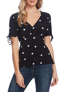 Vince Camuto Polka Dot Tie Cuff Top