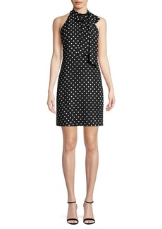 Vince Camuto Polka Dot Tie-Neck Shift Dress
