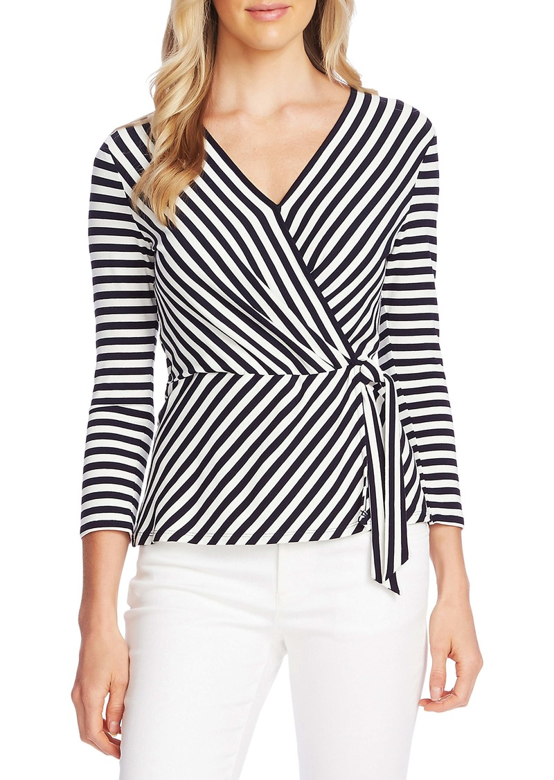 Vince Camuto Pool Stripe Faux Wrap Top