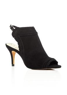 VINCE CAMUTO Prenda Fringe Mid Heel Sandals