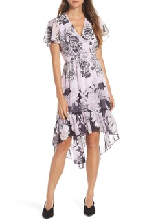 Vince Camuto Print Flutter Midi Dress