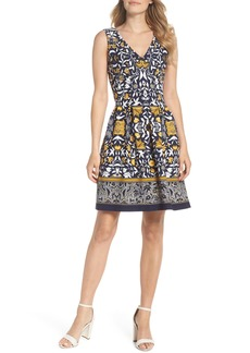 Vince Camuto Print Scuba Crepe Fit & Flare Dress
