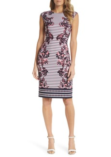 Vince Camuto Print Scuba Crepe Sheath Dress