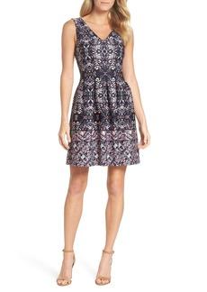 Vince Camuto Print Scuba Fit & Flare Dress (Regular & Petite)