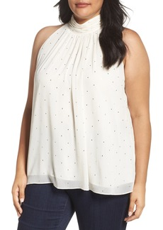 Vince Camuto Print Shirred Neck Halter Blouse (Plus Size)
