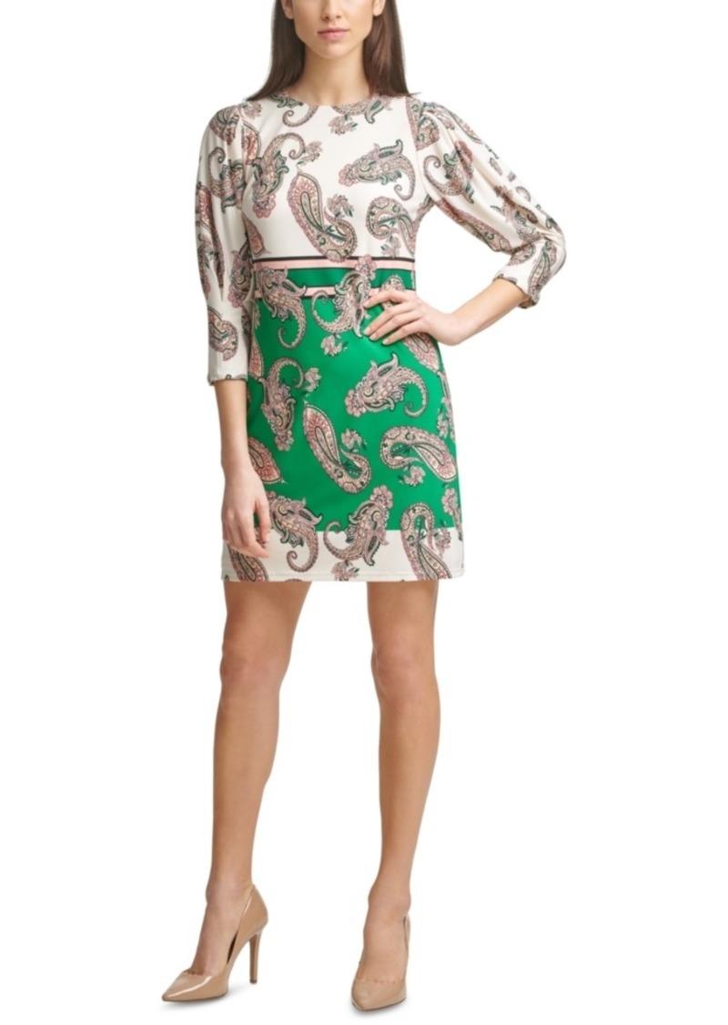 Vince Camuto Printed 3/4-Sleeve Shift Dress