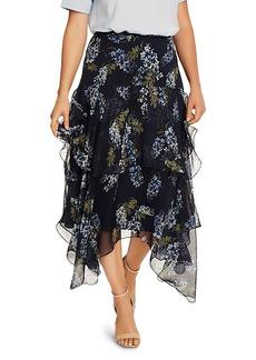 VINCE CAMUTO Printed Asymmetrical Hem Midi Skirt