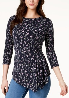 Vince Camuto Printed Asymmetrical Top