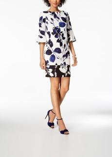 Vince Camuto Printed Bell-Sleeve Sheath Dress