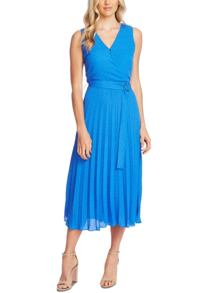 Vince Camuto Printed Belted Sleeveless Dress